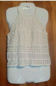 INC International Concepts Crochet Lined Tank Side Zip White Size M
