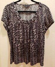 BRIGGS NEW YORK Size Large Black Grey Concrete Leopard Print Cap Sleeve Top