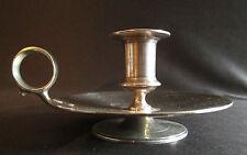ancien bougeoir à anneau de préhension en métal argenté tourné, début XX ème
