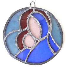 Handmade Vintage Stained Glass Wall Hanging Mary Jesus Christmas Artwork Art