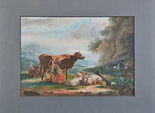 Unknown artist: Young girl is milking a cow, antique painting, 1859,