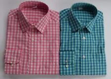 Ex M&S REG FIT PINK / GREEN CHECK GINGHAM 100% PEACHED COTTON SHIRT 14.5-18.5