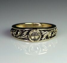 Carved Victorian design Yellow Sapphire 14k gold band