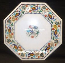 """12"""" Marble Coffee Table Top Peacock With Floral Inlay Rare Kitchen Decorate M156"""