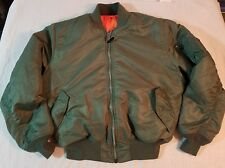 ALPHA Industries Reversible Flyer's Jacket MA-1 Green & Orange Size Mens #12