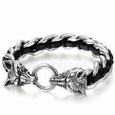 Mens Biker Genuine Leather Stainless Steel Braided Wolf Head Bracelet Curb Chain