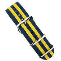 B & R Bands 20mm Navy/Yellow Bond Premium Nylon Military Style Watch Band Strap