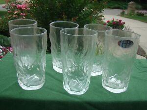 SENECA Driftwood Casual Clear Glass set 6 FLAT ICE TEA TUMBLERS 16 OZ 1 LABEL