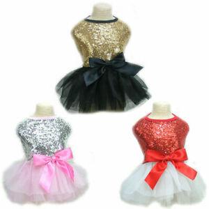 Bling Pet Dog Dress Fashion Bow Lace Princess Tutu Skirt Puppy Cat Dress Clothes