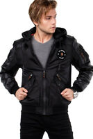 Cipo & Baxx OSLO Mens Hood Bomber Jacket Black CM134 all Sizes