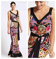 ex M&S Per Una Maxi Printed Summer Maxi Dress with Belt