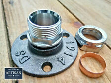 22mm Chrome Compression Floor / Wall Flange Pipe Mount Fits 22mm Copper Pipe