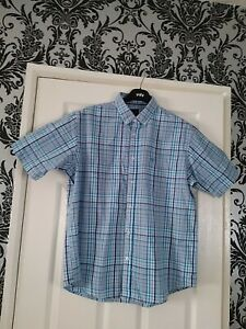Mens James Pringle  Blue And White Checked Short Sleeved Shirt Size L