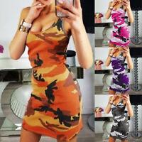 Women Sleeveless Bodycon Mini Dress Camo Casual Summer Long Vest Tank Top Dress
