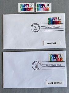 US 2002. Happy Birthday. Sc#3558,3695 Stamps + FDC. (34c,37c)