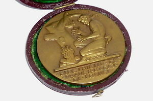 Alte Medaille Bourgoin Abzeichen im Etui Medal Dropsy france Bronze bronce Münze