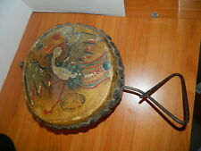 Antique China Chinese Ceremonial Wooden Drum Painted Skins Signed Bird & Dragon