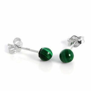 925 Sterling Silver & 4mm Green Malachite Stone Stud Earrings Studs