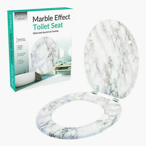 MARBLE EFFECT ANTE- BACTERAIL  COATING MDF TOLIET SEAT & CHROME PLATED HINGES