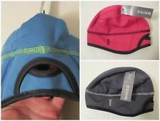 3 Girls IGLOOS S-M Pink Blue Gray Fleece Lined Running Pony Tail Beanie Hat