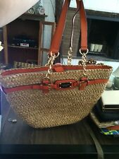 Michael Kors Hamilton Natural Straw Large Chain Tote Handbag With Orange Accents