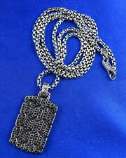 "John Hardy Sterling Silver Black Sapphire Dog Tag & 26"" Chain"