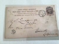 Thomas Porter Manchester 1887 to Brussels Belgium  stamps card Ref  R25614