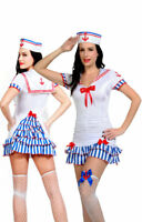 Ladies Sexy Sailor Girl Costume 5 Piece Dress, Thong, Cap Stockings Size 10-12