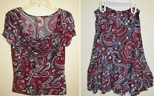 Susan Lawrence Red Blue White Paisley 2-Piece Skirt Set Top w Cowl Neck Sz Large