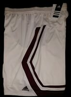 Mens adidas Basketball Sport Performance Shorts Size XL White w/ Maroon Stripe