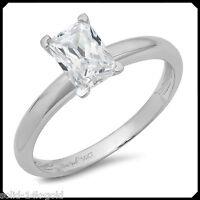 Anna 1.00CT EMERALD cut Diamond VVS1 Pure 14K White GOLD Engagement Wedding Ring