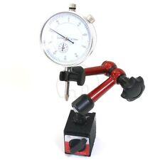 0 - 10mm DIAL INDICATOR GAUGE + Magnetic Base Holder PRECISE MEASURING Long Arm