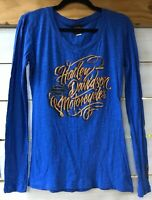 Harley Davidson Motorcycles Tampa FL Jr. Women's S Knit Shirt Royal Blue L/S