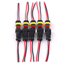 5 kit Waterproof AC/DC Power Female & Male 2Pin 2Way Cable Connector AWG Marine