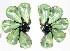 SoHo® Ohrclips vintage bohemia Glas handgemachte Glassteine 60er Jahre hellgrün