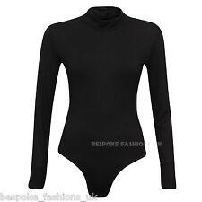 Women's Ladies Polo Turtle Neck Camo Plain Leopard Printed Bodysuit Leotard 16 - 18 Black