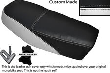 BLACK & WHITE CUSTOM FITS YAMAHA DT 50 MX DUAL LEATHER SEAT COVER ONLY