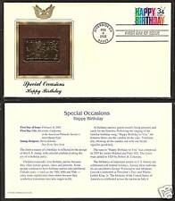 #3558 SPECIAL OCCASIONS HAPPY BIRTHDAY 2002 Gold Foil First Day Cover