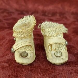 Vintage/Antique Oil Cloth Doll Shoes & Socks Great for Comp, Cloth, Antique Doll