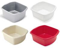 Addis Small Rectangular Washing Up Bowl 8Litres Metallic Linen White Red