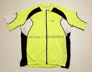 Men's LOUIS GARNEAU Cycling Jersey 2XL (XXL) NEON YELLOW Full Zip Shirt