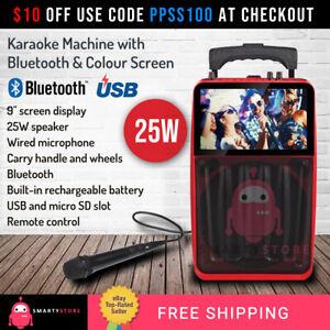 Portable Bluetooth Karaoke Machine Colour screen USB Port Microphone Remote