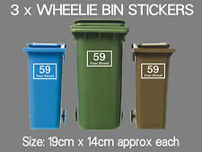 3 x Wheelie Bin Numbers Custom House Number Road Street Vinyl Graphic Stickers