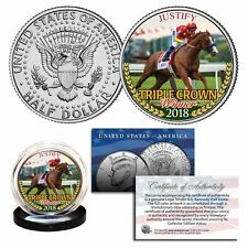 JUSTIFY 2018 TRIPLE CROWN WINNER JOHN F. KENNEDY HALF DOLLAR! W/H COA & STAND!