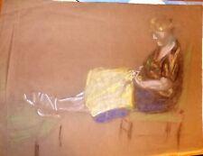 2 PORTRAIT DE FEMME AU CRAYON GRAS ca 1930  sans signature
