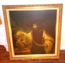 VINTAGE 1960's Aristotle Contemplating the Bust of Homer Painting 34x32