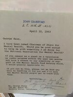 JOAN CRAWFORD SIGNED INSANE! 1963 LETTER TO GEORGE BURNS ON HER LETTERHEAD W/COA
