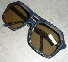 VINTAGE FRANCE SUNGLASSES BLUE JEANS AVIATOR GLASS LENSES ACETATE HAND MADE NOS
