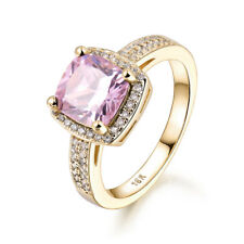 Lovely Pink Diamond Square Cameo 18K Gold Filled Women Lady Party Finger Rings