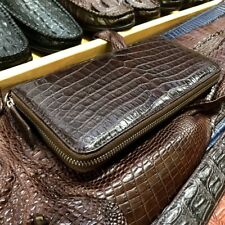 Crocodile Alligator Belly Leather Man Zipper Dark Brown Clutch Long Wallet